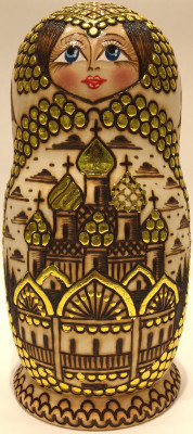 200 mm Moscow Cathedrlas hand burnt and painted Wooden Matryoshka doll 7 pcs (by Olga Burnt Dolls)