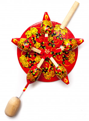200x140 mm Pecking Chicken Hand Carved and Painted Russian Wooden Khokhloma Toy (by Bogorodskoe Studio)