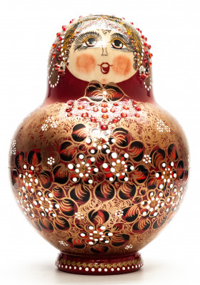 220 mm Russian North Pattern hand painted Wooden Matryoshka Doll 20 inside (by Snezana Studio)