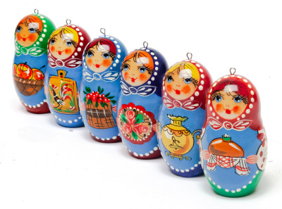 Russian Girls Wooden Christmas Tree Ornaments