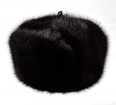 Black Muskrat Fur Hat with Ear flaps and Fur top (by Skazka Furs)