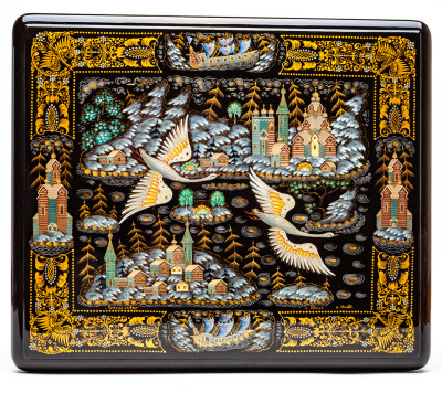 310x270mm Russian North Hand Painted Jewellery Box (by Sadko Workshop)
