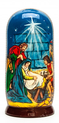 110mm The Nativity of Jesus hand painted on wooden Matryoshka doll 5 pcs (by 3A Studio)