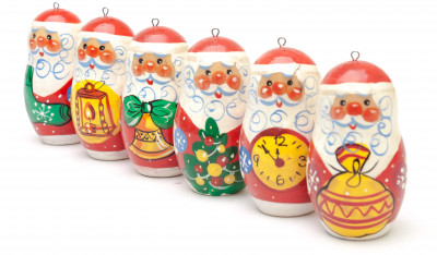 Santa Claus hand painted wooden Christmas Tree Ornaments