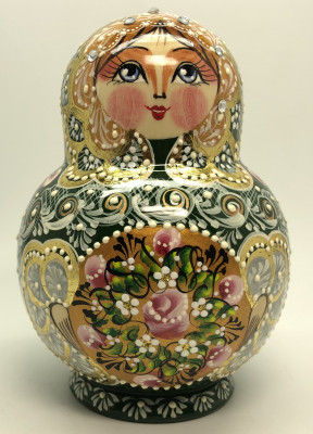 140 mm Russian Patterns hand painted wooden Matryoshka doll 10 pcs (by Elena Kudryashova)