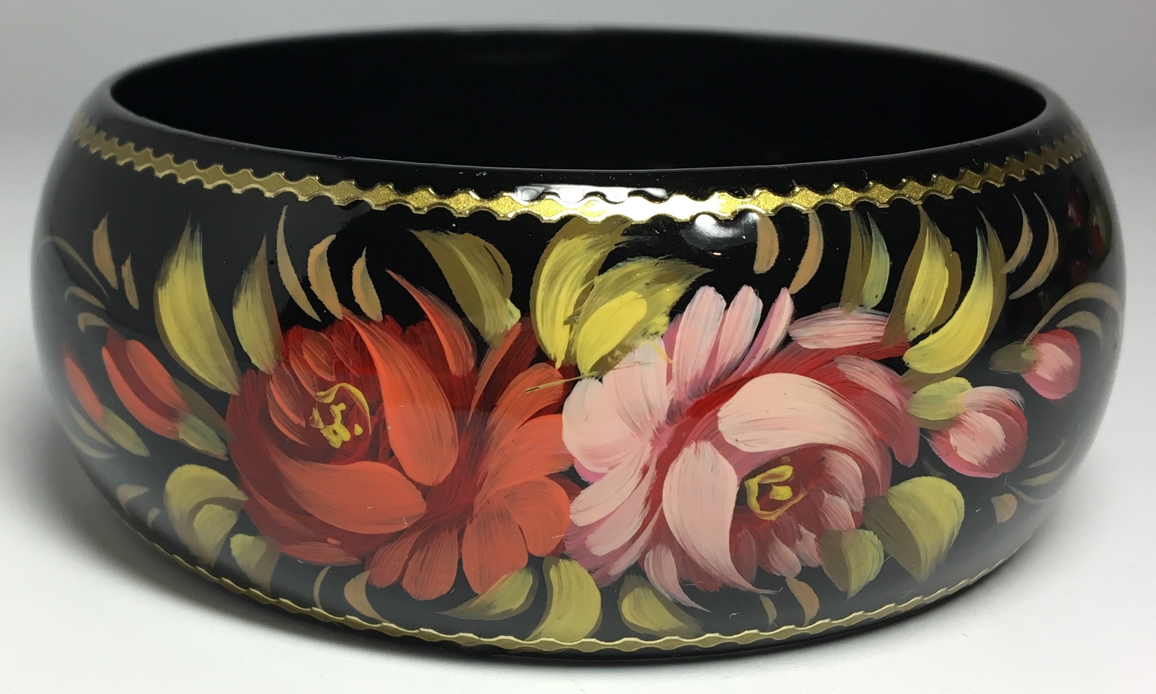 80x42 mm Zhostovo Art handpainted wooden Bracelet (by Lada Workshop)