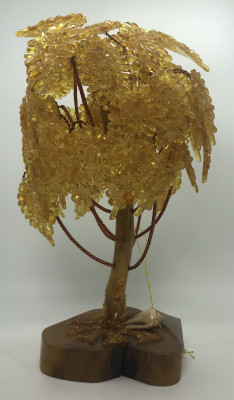280 mm Amber Jewelry Tree with Leaves (by Russian Amber)