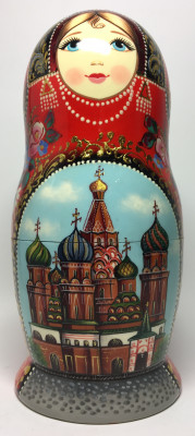 210 mm Moscow Cathedrals hand painted wooden Matryoshka doll 5 pcs (by A Studio)