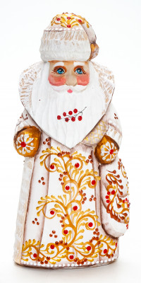 150mm Santa Claus with a Bag handpainted Wooden Carved Statue (by Natalia Nikitina Workshop)