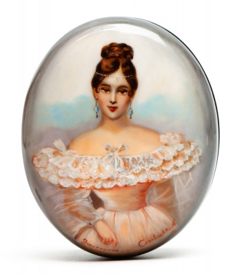 85x65mm Maiden Portrait Hand Painted Jewellery Box (by Alexander G Studio)
