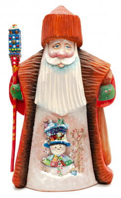 240 mm Santa with a Magic Staff Carved Wood Hand Painted Collectible Figurine (by Igor Carved Wooden Figures Studio)