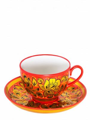 The Awakening Khokhloma hand painted Tea Set (by Golden Khokhloma)