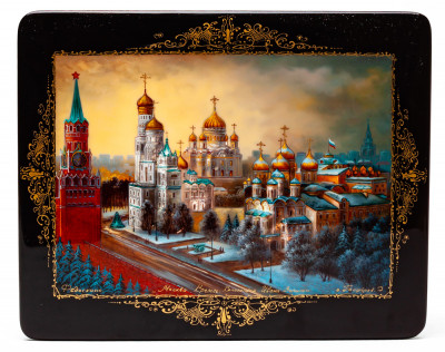 200x160mm Moscow Kremlin hand painted lacquered jewelery box (by Panferoff Studio)