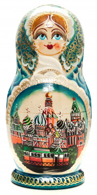 220 mm Moscow Saint Basil Cathedral handpainted Wooden Matryoshka Doll 7 pcs (by Valery Crafts)