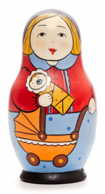 110 mm Mother with Baby hand painted Traditional Russian Wooden Matryoshka doll 5 pcs (by Igor Malyutin)