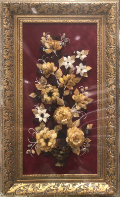 400x700 mm Bouquet of Flowers Still Life on red background hand made of natural Baltic Sea Amber stones (by Russian Amber)
