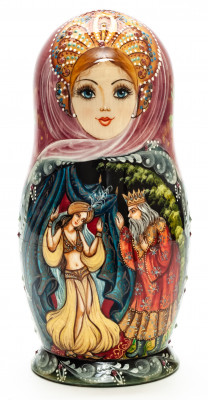 180 mm One Thousand and One Nights hand painted on Wooden Matryoshka doll 5 pcs (by Natalia Crafts)