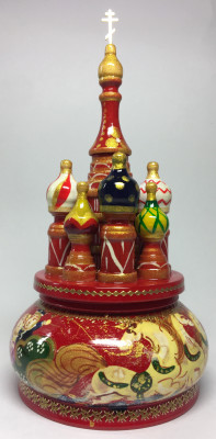 190 mm Saint Basil's Cathedral Russian Troika Music Box hand painted Wooden Music Box (by Nightingale Crafts)
