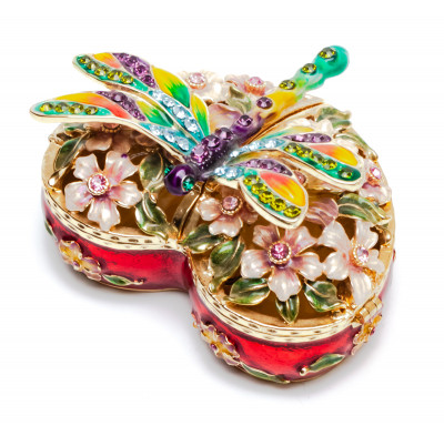 40 mm Heart shaped Dragonfly Jewellery Box