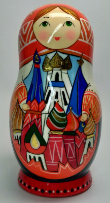145 mm Moscow Snt Basil Cathedral hand painted by Lentuloff on wooden Matryoshka doll 5 pcs (by A Studio)