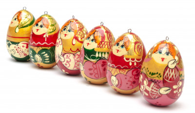 Russian Matryoshka wooden Christmas Tree Ornament