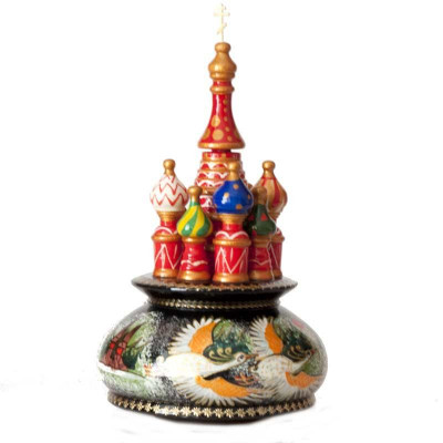 230 mm Saint Basil's Cathedral Flying Swans hand painted Wooden Music Box (by Nightingale Crafts)