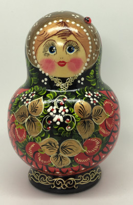 140 mm Khokhloma hand painted Amtryoshka Doll 10 pcs (by Valentina Khokhloma)