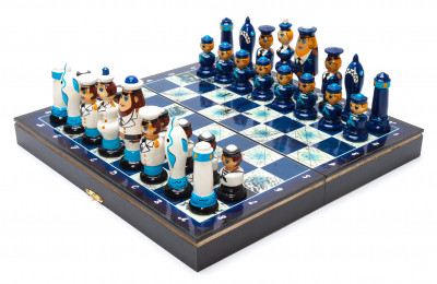 Wooden Chess Board with Crew of Sailors Hand Painted Chess Pieces