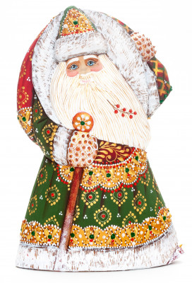 190 mm Santa with a Magic Staff and a Bag Carved Wood Hand Painted Collectible Figurine (by Natalia Workshop)