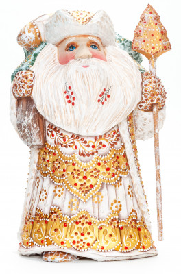 220 mm Santa Claus with a Green Christmas Tree and a Magic Staff handpainted Wooden Carved Statue (by Natalia Nikitina Workshop)