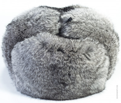 Grey Rabbit Hair Winter Ushanka Hat with Ear Flaps (by Skazka Furs)