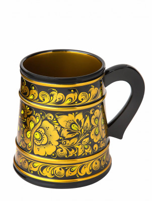 140 mm Khokhloma hand painted wooden Beer Mug (by Golden Khokhloma)