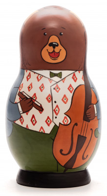 125 mm Bear with the Violin hand painted Traditional Russian Wooden Matryoshka doll 5 pcs (by Igor Malyutin)