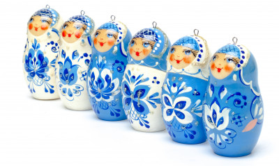 Matryoshka Gzhel Christmas Ornaments