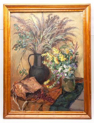 480x630 mm Still Life with Flowers hand painted on Canvas painting (by Skazka)