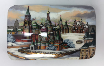 130 x 80 mm Moscow Winter hand painted lacquered box from Fedoscino (by Mihail Studio)