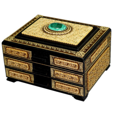 180x150 mm Siberian Patterns hand made Birchbark Jewelry Box with Malachite stone (by Birch Gifts)