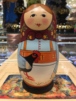 180 mm Happy couple and their six children hand painted Malyutinskaya Matryoshka doll 5 pcs (by Sergey Malyutin)