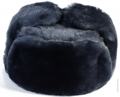 Blue Mouton Sheepskin Ushanka Winter Hat (by Golden Fleece)