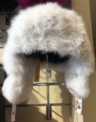 White Rabbit Hair Hat with Ear flaps and Leather top (by Boris Furs)