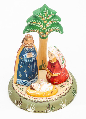 Nativity Set of 3 handpainted Carving Wooden Figures and Tree on round basement Ludmila Christmas Gifts