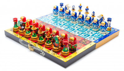 290x290 mm Wooden Chess Board with Khokhloma and Gzhel Art Hand Painted Chess Pieces (by Alexander Chess Studio)
