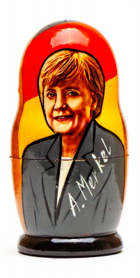 120 mm Angela Merkel Handmade wooden Matryoshka Nesting Doll 5 pcs (by 3A Studio)