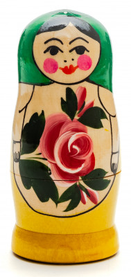 95 mm Green Head Semenovskaya Hand Painted Wooden Matryoshka Nesting Doll 4 pcs inside  (by Ivan Studio)