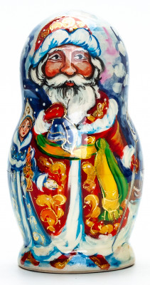 130 mm Santa Claus and Snowmaiden Princess hand painted wooden Matryoshka Doll 5 pcs (by Skazka)
