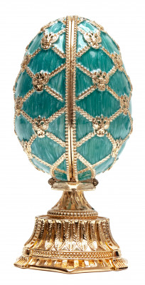 115 mm Light Blue Easter Egg with the Crown and Clock
