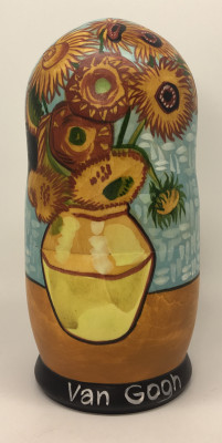 200 mm Sunflowers Vincent Van Gogh hand painted Matryoshka Dolls 5 pcs (by Alexander Studio)