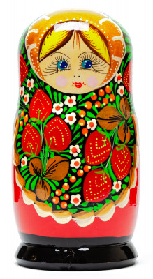 170 mm Russian Tradithional Khokhloma Hand Painted Matryoshka Doll 5pcs (by Alena Crafts)
