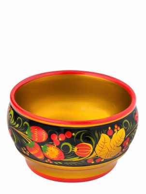60x105 mm Khokhloma hand painted wooden Sugar Bowl (by Golden Khokhloma)