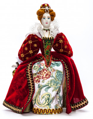 Queen Elizabeth I hand made Porcelain Doll in a 19th century Dress - 11 Inches (by Le Russe)